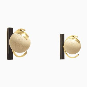 Mid-Century Ball-Shaped Etched Glass Wall Sconces, Set of 2