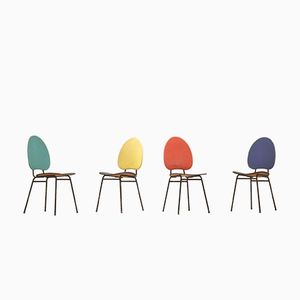 French Mid-Century Multicolor Vinyl Dining Chairs by Jacques Hitier, 1950s, Set of 4