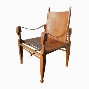 Skandinavischer Vintage Leder Safari Stuhl von Kaare Klint für Rudolf Rasmussen