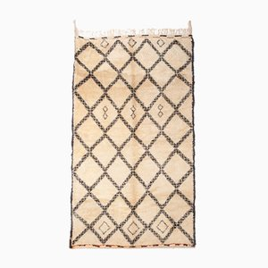 Vintage Moroccan Beni Ourain White and Brown Rug, 1970s
