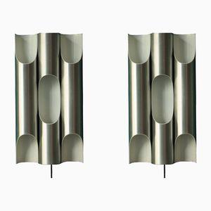 Vintage Aluminium Wandlampen von Raak, 2er Set