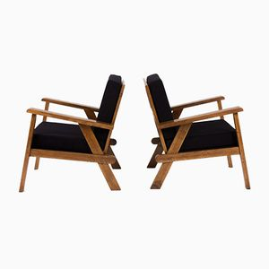 French Oak Armchairs, 1950, Set of 2