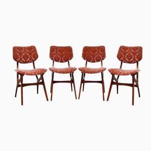 Mid-Century Danish Velvet Dining Chairs, 1960s, Set of 4