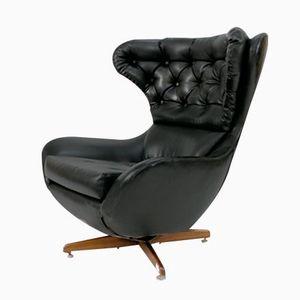 Vintage English Rocking Armchair with Skai Seating
