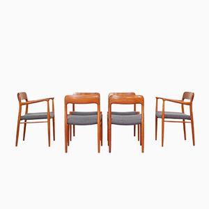 Chaises de Salon Mid-Century No. 75 & No. 56 par Niels Otto Møller pour J.L. Møllers, Set de 6