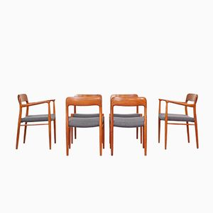 Mid-Century No. 75 & No. 56 Dining Chairs by Niels Otto Møller for J.L. Møllers, Set of 6