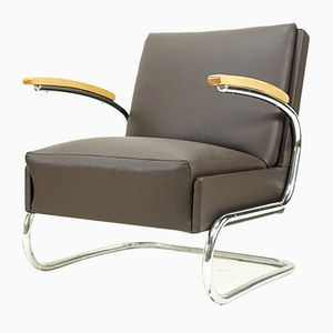 Vintage Grey Cantilevered Armchair, 1930s