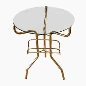 Table Basse en Laiton et en Verre, Italie, 1950s