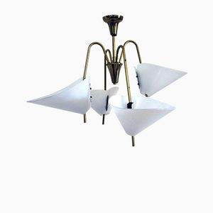 Brass & Plexiglas Chandelier from Rupert Nikoll, 1950s