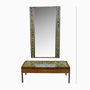 Low Table & Tiled Mirror from Poul Jensen & L. Hjorth, 1950s