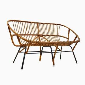 Niederländisches Vintage Korbgeflecht Sofa von Rohé Noordwolde