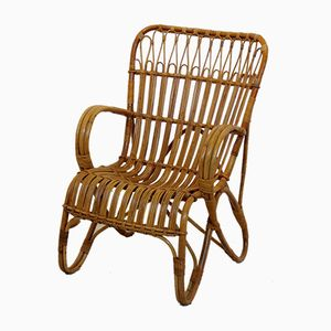 Vintage Dutch Wicker High Back Lounge Chair from Rohé Noordwolde