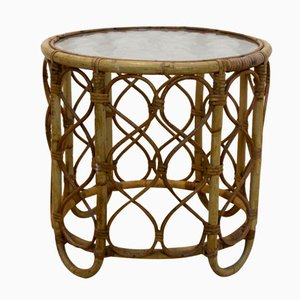 Vintage Dutch Wicker & Glass Side Table from Rohé Noordwolde