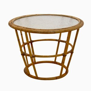 Vintage Wicker & Glass Side Table from Rohé Noordwolde