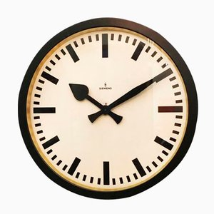 Large Vintage Industrial Station Wall Clock from Siemens