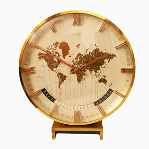 Large Mid-Century Modernist Table World Time Clock from Kienzle