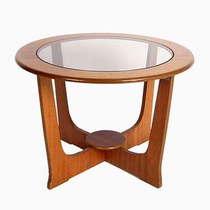 Petite Table Basse Mid-Century en Teck et en Verre
