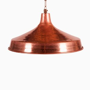 Danish Hammered Copper Pendant Light, 1950s