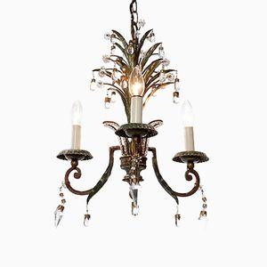 Lustre à Trois Lampes Doré en Laiton Plaqué et et en Cristal de Maison Baguès, 1920s