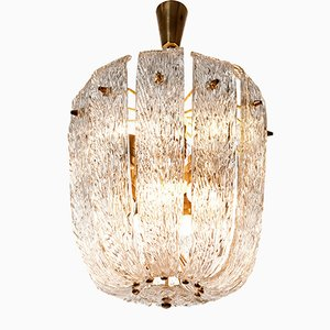 Ten-Light Brass and Pressed Glass Chandelier from Kalmar, 1950s