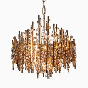 Five-Light Gold-Plated Brass and Crystal Chandelier from Palwa, 1960s