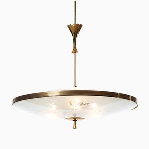 Italian Three-Light Pendant by Pietro Chiesa for Fontana Arte, 1940s