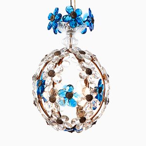 Three-Light Italian Lantern with Blue Crystal Flowers, 1940s