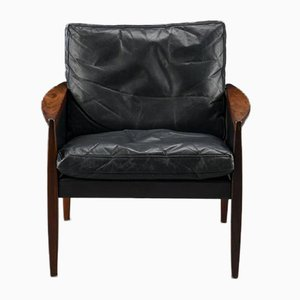 Vintage Palisander & Leder Sessel von Hans Olsen für the Juul-Kristensen Brothers