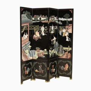 French Lacquered and Painted Chinoiserie Folding Screen, 1960s