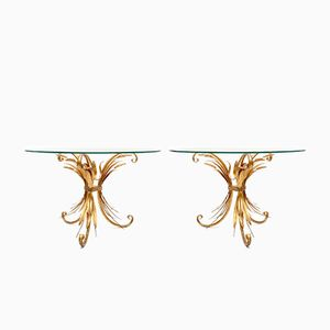 Gilt Sheaf of Wheat Side Tables, 1970s, Set of 2