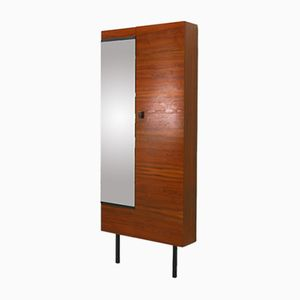 Walnut Shoe Cabinet with Mirror, 1960s