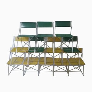 Metall Stühle mit X-Gestell von Neils Joergen Haugesen für Magis, 1970er, 12er Set