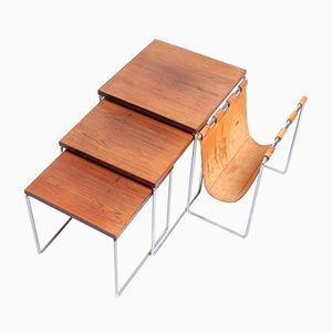 Rosewood Nesting Tables with a Leather Magazine Holder from Brabantia