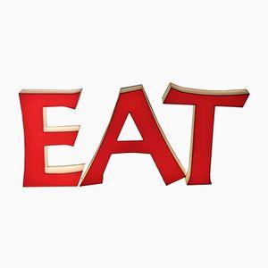 Große Mid-Century Vintage Leuchtbuchstaben EAT