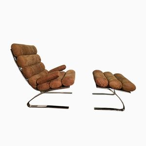 VIntage Sinus Lounge Chair and Pouffe by Reinhold Adolf and Hans-Jürgen Schräpfer for Cor, 1970s