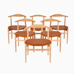 Modell 708 Esszimmerstühle von Hans J. Wegner für Fritz Hansen, 1950er, 6er Set