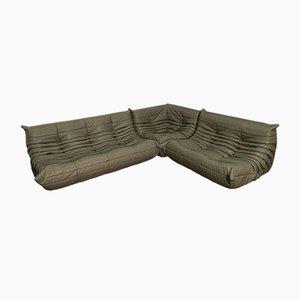 Dark Grey Leather Togo Sofa Set by Michel Ducaroy for Ligne Roset, 1974