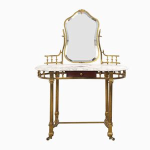 Antique Brass & Marble Dressing Table