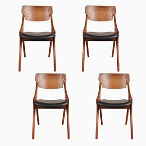 Scandinavian Dining Chairs by Arne Hovmand Olsen for Mogens Kold, 1950s, Set of 4