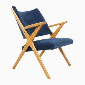 Easy Chair Bleue en Velours, 1950s