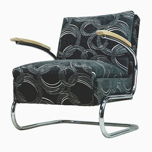 Vintage Cantilevered Anthracite Armchair, 1930s