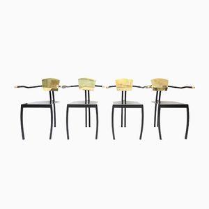 Chaises Postmodernes Noires en Laiton, Set de 4
