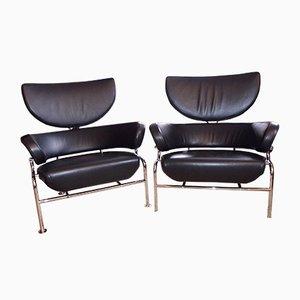 Schwarze Vintage Tre Pezzi Ledersessel von Franco Albini für Cassina, 2er Set