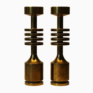 Vintage Brass Candleholders, 1960s, Set of 2