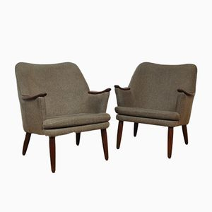 Danish Beige Easy Chairs, 1950s, Set of 2