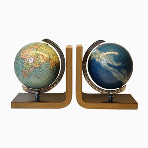 Globe & Starry Columbus Bookends, 1950s, Set of 2