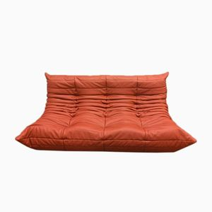 Red Leather Togo 3-Seater Sofa by Michel Ducaroy for Ligne Roset, 1970s
