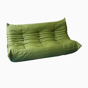 Green Leather Togo Sofa by Michel Ducaroy for Ligne Roset, 1970s