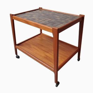 Danish Teak Drinks Trolley with Ceramic Tiles, 1960s