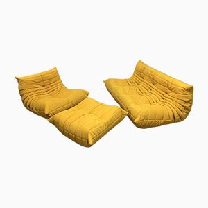 Yellow Alcantara Togo Sofa Set by Michel Ducaroy for Ligne Roset, 1970s, Set of 3